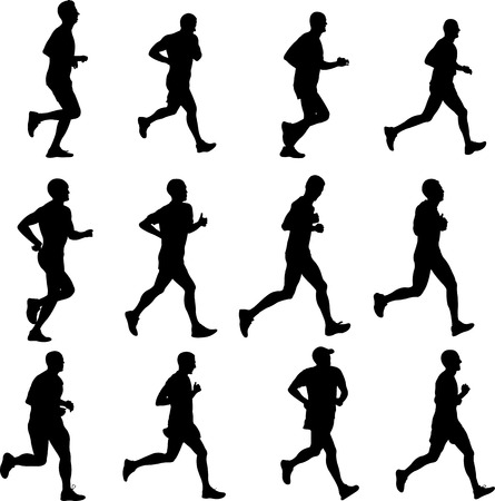 A men running collection - vector illustration. Illustration
