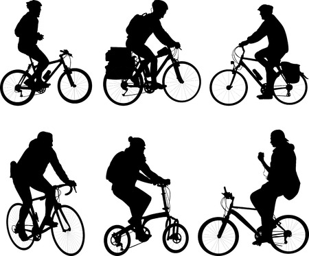 Fietsers silhouetten collectie - vector Stock Illustratie