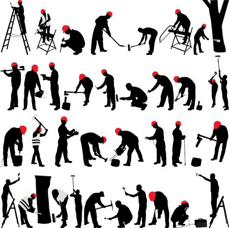 Kolekcja silhouettes pracowników - wektor