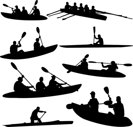 rowing collection silhouettes - vector Reklamní fotografie - 85425015