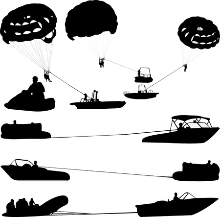 Water sports extreme silhouettes - vector