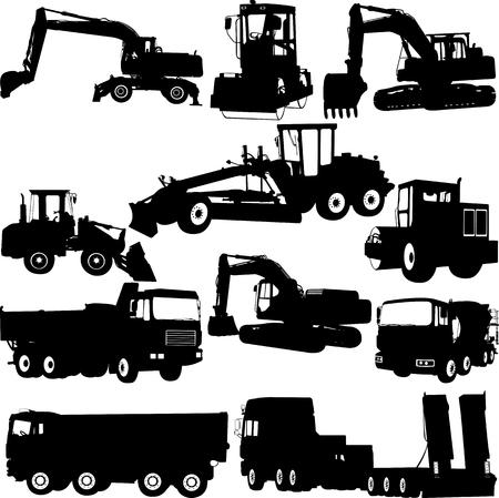 Construction machine silhouette - vector Ilustrace
