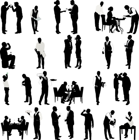 two: People drinking and waiter  silhouettes - vector Illustration