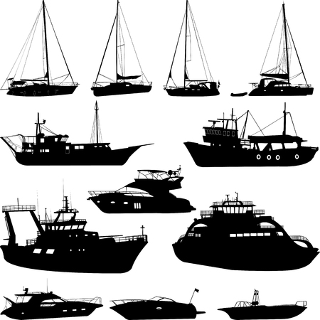 Ships and boats silhouettes collection - vector Stock Illustratie