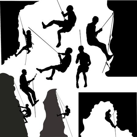 Rock climbers collectie silhouet - vector Stockfoto - 86295803