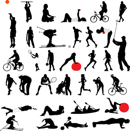 Sports and recreation collection silhouettes