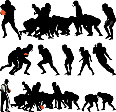 American football players silhouette illustration. Illustration