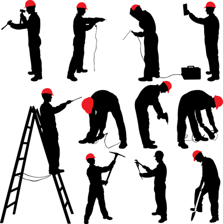 worker silhouettes collection - vector Stock Illustratie