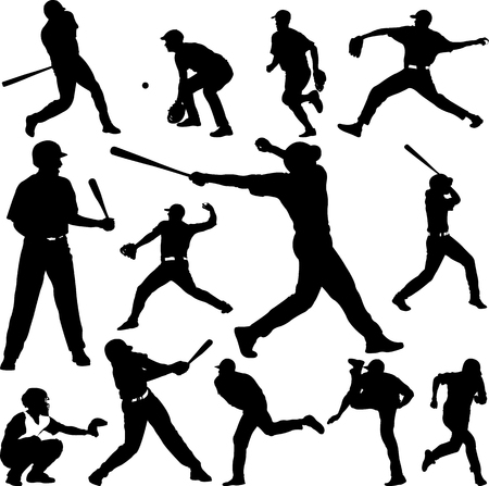 Honkbal speler silhouet - vector Stockfoto - 87854386