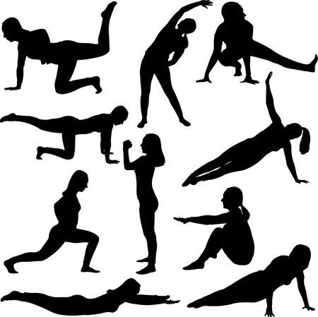 Aerobics girl collection - vector