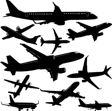 Airplane silhouette collection - vector Stock Illustratie
