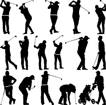 Golf spelers en apparatuur silhouetten - vector Stock Illustratie