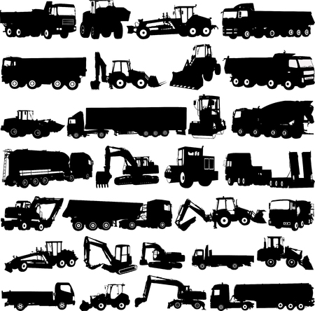 bouwmachines collectie silhouetten - vector Stock Illustratie
