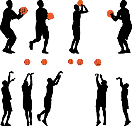 Basketbalspeler en bal vector - stock illustratie Stockfoto - 96209205
