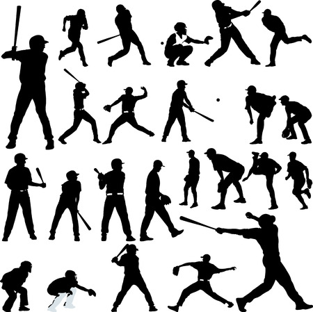 Baseball player silhouette collection, vector stock image. Vettoriali