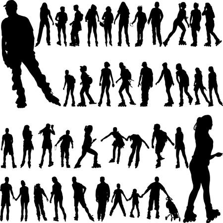 Rolschaatsen grote collectie silhouetten - vector Stockfoto - 96204318