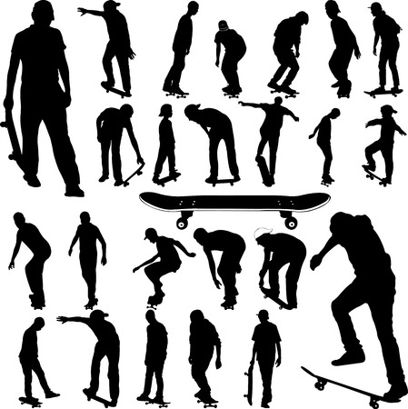 Skateboarders big collection silhouettes vector illustration. Stock Illustratie