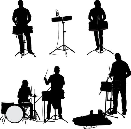 Musician Drummer Silhouette - vector