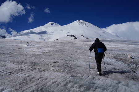 elbrus: During travel on Mount Elbrus  Stock Photo