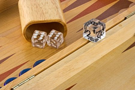 Backgammon board with a roll of double sixes. photo