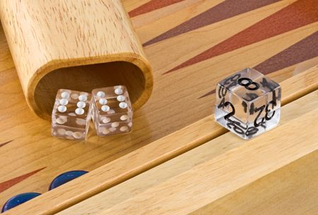 doubling: Backgammon board with roll of double sixes Stock Photo