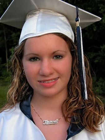Portrait Of A Female College Graduate On Graduation Day She.. Stock ...