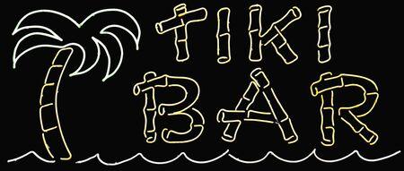 tiki bar: A neon glowing tiki bar sign
