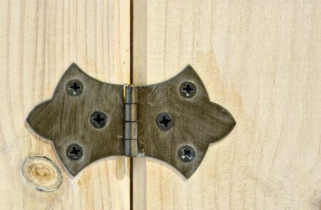 A close up view of a hinge attached to a wood cabinet door. Much detail can be seen in both the hinge and the wood.