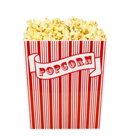 concession: A container of popped popcorn isolated on a white background