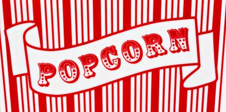 Red and white popcorn sign on red and white striped background