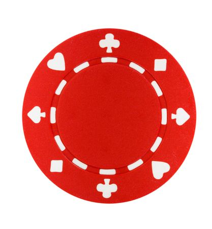A red poker chip isolated on a white background Imagens