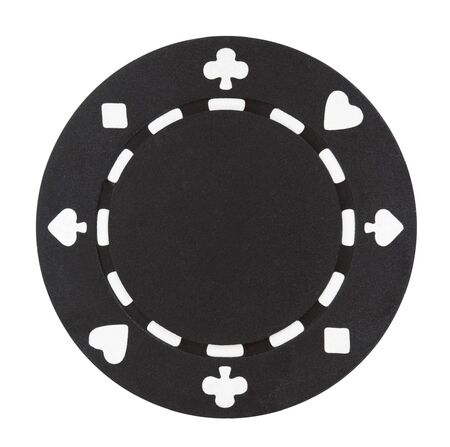 A black poker chip isolated on a white background Imagens