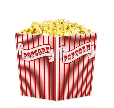 popped: A container of popped popcorn isolated on a white background