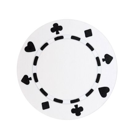 A white poker chip isolated on a white background