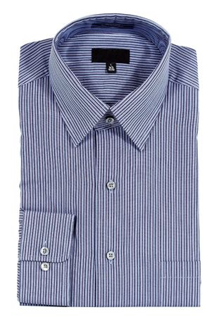pinstripes: A Blue pinstriped dress shirt isolated over a white background