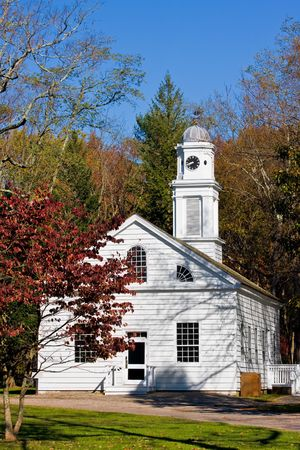 An old, restored church in Allaire Village, New Jersey. Allaire village was a bog iron industry town in New Jersey during the early 19th century. photo