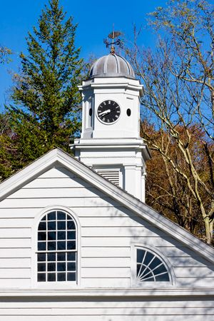 restored: An old, restored church in Allaire Village, New Jersey. Allaire village was a bog iron industry town in New Jersey during the early 19th century. Stock Photo