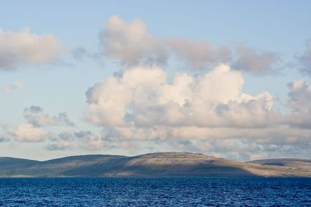 burren: Galway Bay in Ireland from County Clarel with The Burren across the bay.  Stock Photo