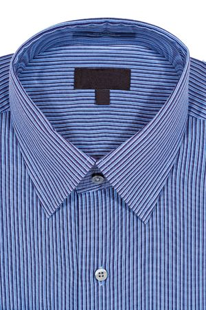 formal attire: A Blue pinstriped dress shirt isolated over a white background