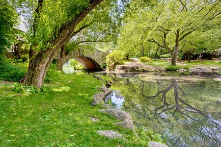 A stone bridge in Central Park, NY. There is a large tree and reflection in the pond that runs under the bridge.