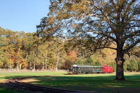 restored: An old, restored train taking people for rides at Allaire Park in New Jersey Stock Photo