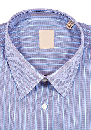 A folded pinstriped dress shirt