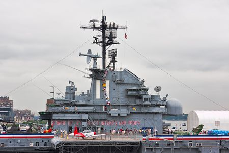 The USS Intrepid navy aircraft carrier at the Intrepid Sea-Air-Space Museum in Manhattan, New York City. Photo was taken May 26, 2010 during Fleet Week.