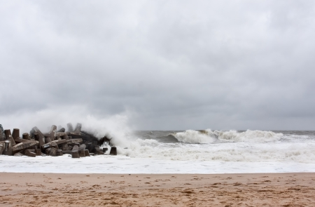 occurred: Point Pleasant New Jersey on Sunday October 28th, 2012  One day before Hurricane Sandy made landfall  Photo is 32 hours prior to the superstorm making landfall which occurred on the evening of October 29th  The ocean is rough, the waves are building, and