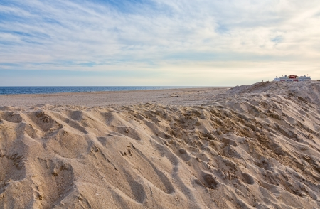 hurricane sandy: A New Jersey shore beach area, Point Pleasant, one month after Hurricane Sandy. Stock Photo