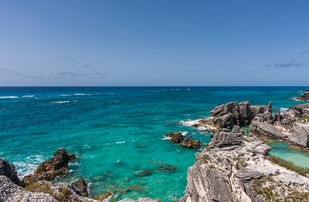 Landscape of Horseshoe Bay in Bermuda on a sunny day.