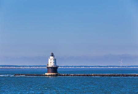Harbor of Refuge Light Lighthouse in the Delaware Bay at Cape Henlopen. Stock Photo
