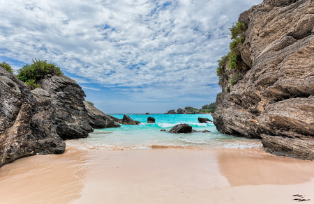 Landscape of Ocean, rock and beach in Horseshoe Bay, Southampton Parish, Bermuda Reklamní fotografie