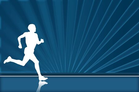 jogging in nature: Blue runner background  Stock Photo
