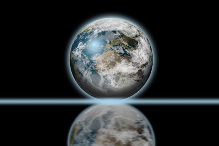 3d earth with reflection photo